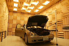 Photo of measurement using an actual car in an anechoic room