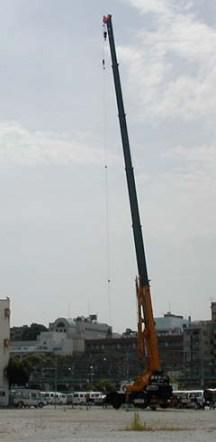 Measurement using a microphone hanging from a crane