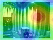 球バッフルマイクロホンに内臓されたカメラと写真と合成された音源探査解析例