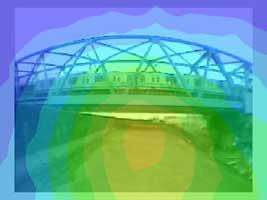 鉄橋を通過する電車に対する音源探査例 125Hz
