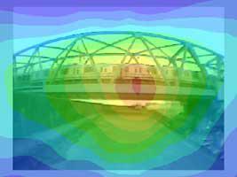 鉄橋を通過する電車に対する音源探査例 2000Hz
