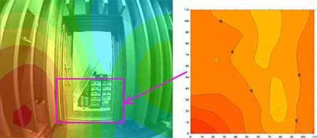 防音引戸測定結果(左図:Noise Vision 右図:音響インテンシティー 315Hz)