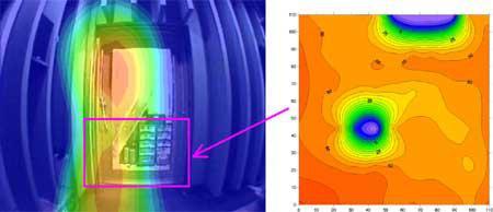 防音引戸測定結果(左図:Noise Vision 右図:音響インテンシティー 2500Hz)