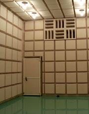 写真1 無響室(台形の吸音ユニット)