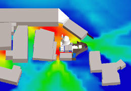 図2 ジオノイズを使った工場の騒音シミュレーション例