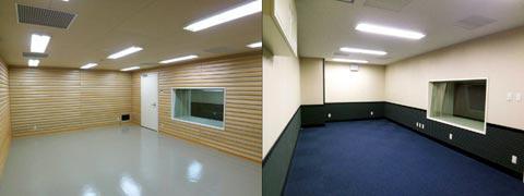 写真12 南棟 音楽録音スタジオ(左)/コントロールルーム(右)