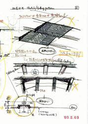 図4 計画中のスケッチ集...天井のイメージ