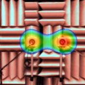 図1 2つのスピーカからの音を解析した例(4000Hz、左:通常の解析結果)