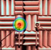 図1 2つのスピーカからの音を解析した例(4000Hz、右:右側のスピーカからの寄与を信号処理で除外した解析結果)