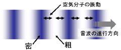 図1 音波の伝搬イメージ(粗密波)