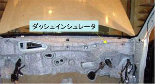 図7 自動車のカットボディとダッシュインシュレータ