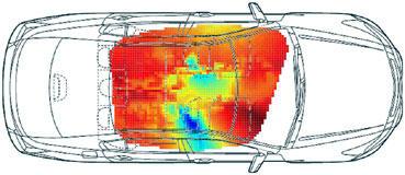 図2 車室内の音圧分布測定例(90Hz、運転席足元に音源設置)