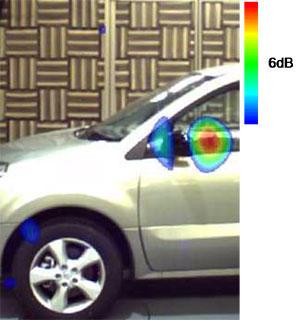 図3 音源探査結果の一例(風速100km/h,2.5kHz)