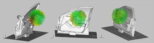 図3 ドアパネルの音源探査例