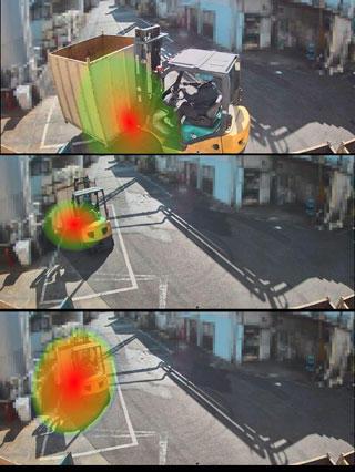図10 連続静止画における騒音源の「見える化」(イメージ)