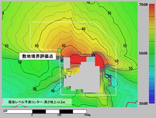 図3 原設計による騒音レベル予測コンター
