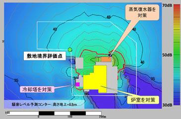 図5 対策案2の騒音レベル予測コンター